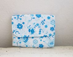Fabric Wallet women's wallet women's gift idea snap closure ready to ship white and blue wallet floral print cute accessory by SixthandDurianGifts