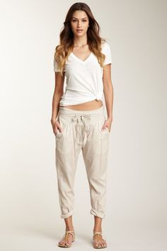 Saha - Sand belted high wasted pant. Gussie up with strappy sandals for a chic summer vacation mhm