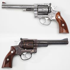 Two Faces of the Ruger Security-Six - A rugged .357 Magnum revolver long favored by outdoorsman and law enforcement, Ruger's Security-Six isn't often seen engraved. To compensate for that oversight, here's two embellished examples that amply illustrate this sturdy handgun's potential.  Whether in carved stainless steel or outlined with delicate gold wire inlays, this double-action six-gun more than makes the grade. At the NRA National Firearms Museum in Fairfax, VA.