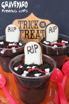 Halloween Party Recipe! Easy Graveyard Pudding Cups for a fun Scary Halloween Dessert and Treat!: