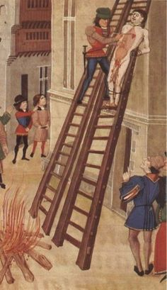 Illusration of Hugh the younger Despenser's execution from a manuscript of Froissart - A traitor's death? The identity of a drawn, hanged and quartered man from Hulton Abbey, Staffordshire http://www.medievalists.net/2010/10/11/a-traitor%E2%80%99s-death-the-identity-of-a-drawn-hanged-and-quartered-man-from-hulton-abbey-staffordshire/