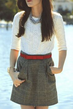 houndstooth skirt + belt + lace top + statement necklace = <3