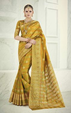 Impressive Yellow Colored Zari Worked Banarasi Silk Saree INR:1,299 USD:$19.99  Get on: http://www.triveniethnics.com/impressive-yellow-colored-zari-worked-banarasi-silk-saree-10881.html