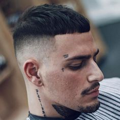 High Skin Fade with French Crop and Goatee