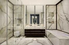 Pin 4: This marble bathroom gives a luxury and class look for be a expensive material. It's also part of decoration, don't need something more to add the place. But needs be careful with this material for be easy to scratched.