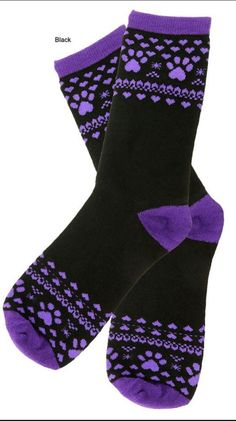 Purple Paws and Hearts Socks - Black #AnimalRescue #AnkleHigh