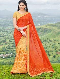 Tanjore Orange Printed Georgette Saree #Saree #Orange