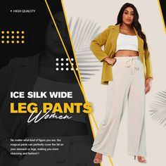 【Mother's Day Promotion-50% OFF】Ice Silk Wide Leg Pants Women – buymorex Ankle Length Pants, Wide Leg Pants, Adele, Mother's Day Promotion, Perfect Curves, Embarrassing Moments, Pleated Pants, Dress Pants, Silk Material