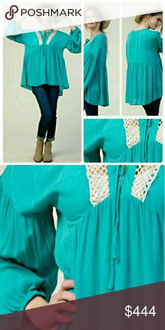 Coming soon! Long sleeve boho blouse Color: turquoise  Material: 100% rayon October Love Tops Blouses