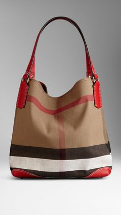 Medium Canvas Check Tote Bag | Burberry