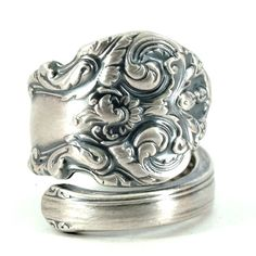 Victorian Ring Sterling Silver Spoon Ring Fancy Ring by Spoonier