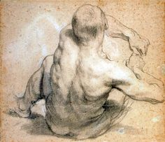 """Seated Man, Leaning Backwards"" by Anthony Van Dyck, graphite drawing, Human Figure Drawing, Figure Drawing Reference, Life Drawing, Drawing Sketches, Figure Drawings, Figure Painting, Painting & Drawing, Kathe Kollwitz, Anthony Van Dyck"
