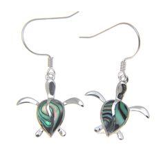 925 Sterling Silver Hawaiian Honu Sea Turtle Abalone Shell Paua Hook Earrings