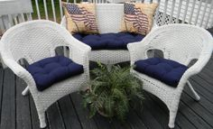 Resort Spa Home Wicker Cushions and Pillows 7 Pc Set - Solid Navy Blue Fabric Cushions and Matching Pillows - Indoor/Outdoor Fabric Outdoor Cushions, Outdoor Fabric, Seat Cushions, Indoor Outdoor, Outdoor Decor, Navy Blue Cushions, Cushion Fabric, Decorative Pillows, Wicker