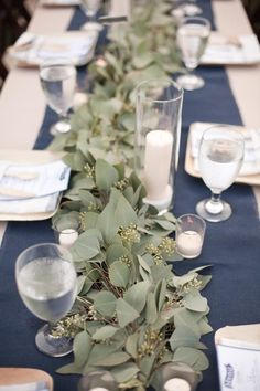 inspiration | eucalyptus centerpieces on blue and white table setting | katrina louise photography | via: ruffled