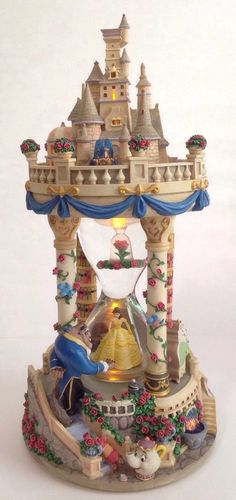 Disney Beauty And The Beast Large Hourglass Castle Musical Snowglobe Snow Globe