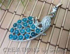Peacock Pendant Faux Turquoise Tail Feathers Bright Silver