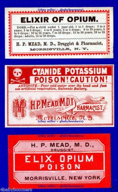 3 Old Elixir Opium Poison Antique RX Drug Store Pharmacy Medicine Bottle Labels