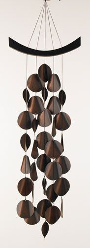 """Moonlight Waves Chimes: Made of 34 antiqued copper-plated steel discs strung from an arch of ash. 37x12"""".$40/ LOVE these so much... - your-craft.co"""