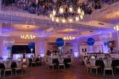 Blue, Black & Silver Ceiling Balloons