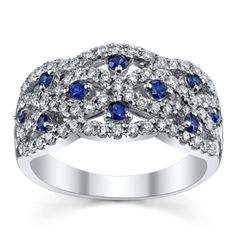 14K White Gold Diamond and Sapphire Anniversary Ring 1/2 Carat Total Weight
