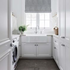Keeping Clean Lines with this Minimalist Designed Laundry Room. All White Paint Scheme with the Natural Window Light Changes the Outlook on Doing Laun… – Laundry Room Laundry Room Design, Laundry In Bathroom, Laundry Rooms, Laundry Decor, Laundry Closet, Small Laundry, Design Kitchen, Interior Design Living Room, Living Room Designs