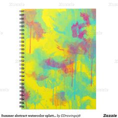#Summer #abstract #watercolor #splatters #Notebook