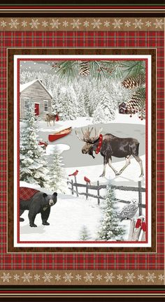 A Christmas Stockings Winter Blessings Holiday Cotton Fabric Panel Free US Shipping