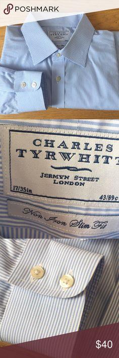"Like New Charles Tyrwhitt Long Sleeve Shirt Non iron Slim fit. Blue and white stripes. Like new condition. 35"" Sleeve. Charles Tyrwhitt Shirts Dress Shirts"