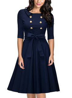 Miusol Womens 34 Sleeve Classy Casual Belted Vintage Retro Evening Swing Dress Navy Blue Medium >>> Click image for more details. Fashion Mode, 1950s Fashion, Vintage Fashion, Womens Fashion, Vintage Style, Vintage Lace, Retro Style, Retro Vintage, Fashion Stores