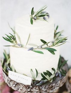 lavender and rosemary decorated cake