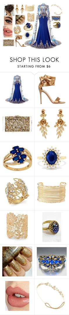 """""""Stunning in Gold and Blue"""" by yukihanayuuki ❤ liked on Polyvore featuring Gianvito Rossi, Edie Parker, Oscar de la Renta, Lord & Taylor, Effy Jewelry, Roberto Coin, Charlotte Russe, Sole Society, Aluna Mae and Charlotte Tilbury"""