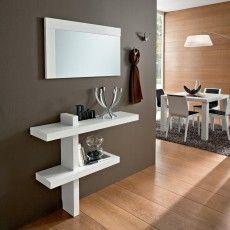 Composizione ingresso Bernard in legno Bianco Frassino consolle + specchio