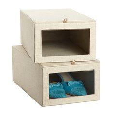 Linen Drop-Front Shoe Box