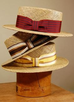 """Fine Linen Seagrass Canvas Reinforced Crown, 2 Brim Vom Bauer Sweatband and Wide Stripe Trim available in Kabob, Sangria, and Corncob, Sizedmade in the USADon't see your Size? Click the """"Notify Me"""" Button for Updates on this Hat's availability! Mens Dress Hats, Men Dress, Gentleman Hat, Hat World, Classic Hats, Boater Hat, Cool Hats, Well Dressed Men, Derby Hats"""