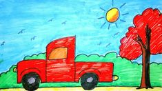 Coloring and Drawing for Kids Basic Drawing For Kids, Car Drawing Easy, Drawing Tutorials For Kids, Easy Drawings For Kids, Easy Painting For Kids, Easy Paintings For Beginners, Art For Kids, Oil Pastel Colours, Oil Pastel Art