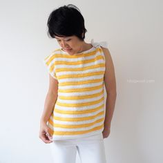 crochet striped top with shoulder knot
