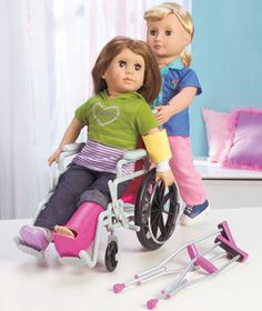 My Girl Wheelchair & Crutch Set Each piece is designed to look like the real thing. The collapsible wheelchair has wheels that really turn and working brakes.