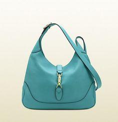 Gucci Jackie Light Blue Leather Shoulder Bag