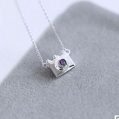 Trendy Silver Purple Crystal Camera Necklaces For Women Collier Femme