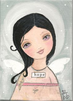 Angel of Hope original Mixed Media painting by bonnesinger via Etsy.