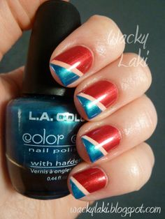 Fourth of July manicure idea: red white and blue diagonal color-blocking