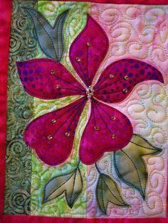 Clematis art quilt wallhanging, appliqued flower and leaves, batik fabrics, beads and paint. Raw-edge applique technique. This is a 10 x 12