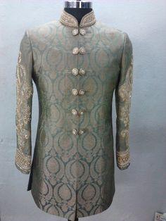 grey green sherwani by sagar tenali.