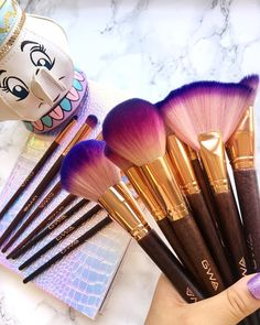 GWA's Fairytale Collection is a 17 piece makeup brush set made up of cruelty free and super soft brushes with purple ombre brush hairs combined with wooden & rose gold handles and a holographic makeup bag. Holographic Makeup, Wooden Roses, Makeup Supplies, London Girls, Purple Ombre, Makeup Brush Set, A 17, Makeup Products, Cruelty Free