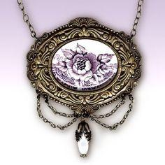 Voyageur - Victorian Garden Collection- Glass Cabochon Necklace - Briar Rose