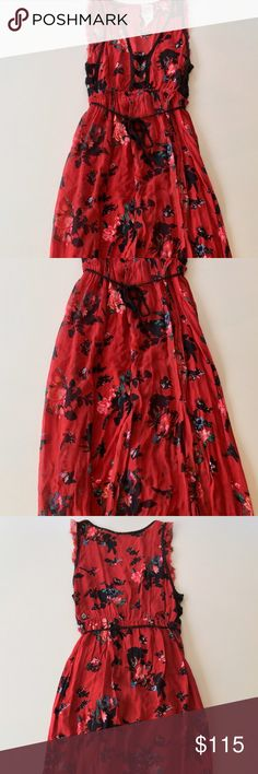 """Free People FP One Moonlight Garden Maxi Style: Floral print, plunging neckline, cutout detail, layered fabric panels, 2 front slits, unfinished edges, crochet tie belt, elastic waistband, half lined. Measurements: ≈51-58"""" length; ≈10"""" strap to strap. Fabric: 100% Rayon. Condition: Pre-owned with slight wear, a few minor imperfections, and natural fraying; otherwise great condition. Care: Hand wash cold. Free People Dresses Maxi"""