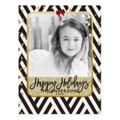 Happy Holidays Gold Black & White Modern Photo Postcard - black and white gifts unique special b&w style