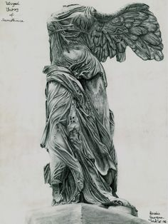 Winged victory of Samothrace statue- Nike Found in Louvre - Paris. Winged victory of Samothrace Ancient Greek Sculpture, Ancient Art, Realistic Drawings, Art Drawings, Shakespeare Tattoo, Victory Tattoo, Samourai Tattoo, Sculpture Art, Sculptures