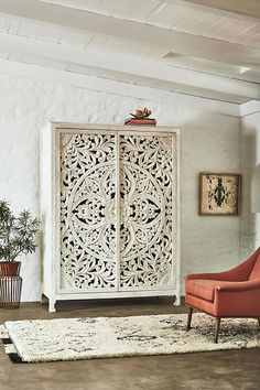 Anthropologie Lombok Armoire 2998 vs World Market White Carved Wood Floral Armoire 1400 white carved armoire look for less copycatchic luxe living for less budget home decor and design daily finds home trends and room redos Cute Dorm Rooms, Cool Rooms, Asian Home Decor, Diy Home Decor, Home Furniture, Furniture Design, Furniture Stores, Furniture Ideas, Moroccan Furniture